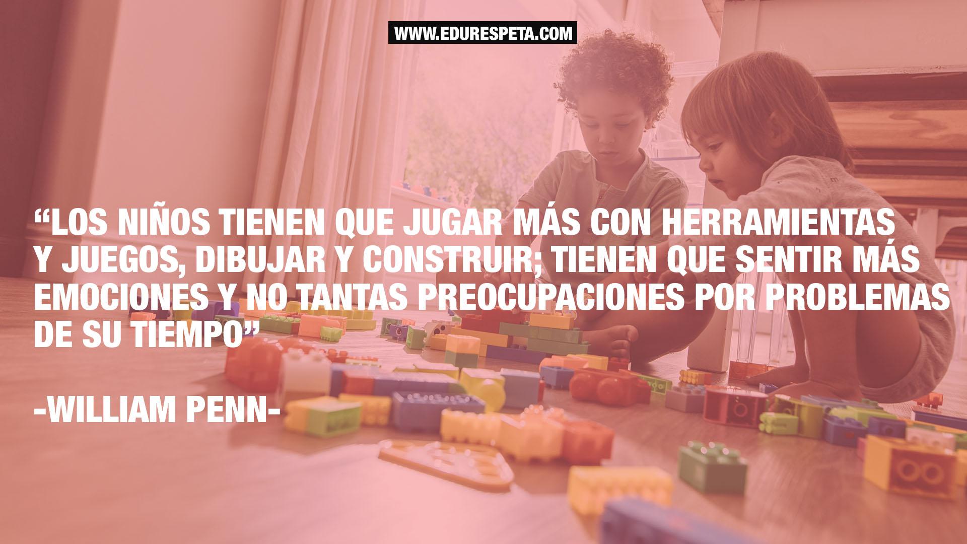 Los niños tienen que jugar más con herramientas y juegos, dibujar y construir; tienen que sentir más emociones y no tantas preocupaciones por problemas de su tiempo