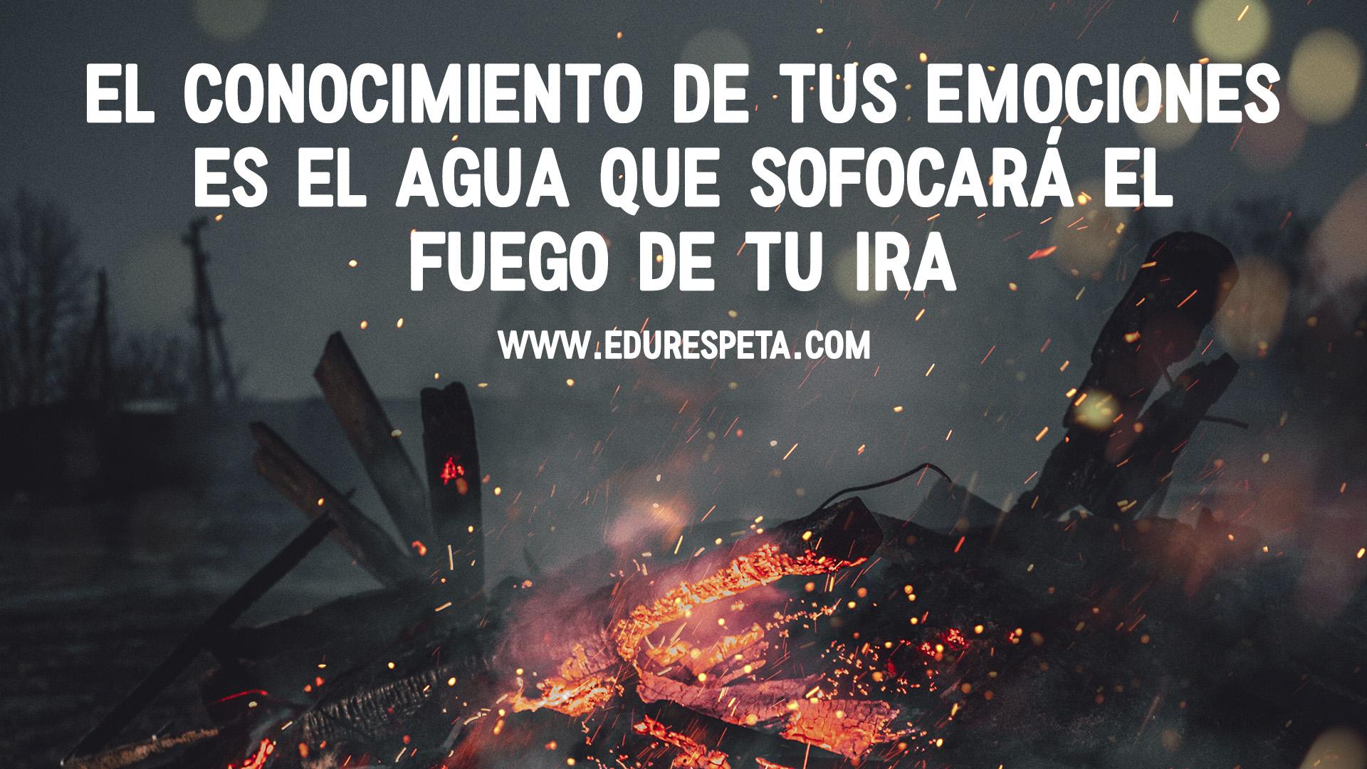 El conocimiento de tus emociones es el agua que sofocará el fuego de tu ira